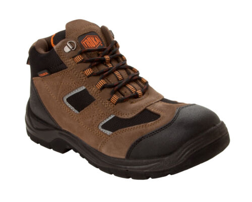 MENS BROWN SUEDE LEATHER SAFETY WORK BOOTS STEEL TOE SHOES HIKER TRAINERS SIZE