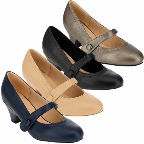 Womens Ladies Mary Jane Court Shoes Cuban Heel Office Work Comfort Wide Fit Shoe