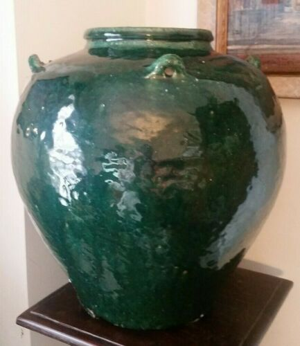 Antique Chinese Martaban Pottery Storage Jar Green Glaze 15""