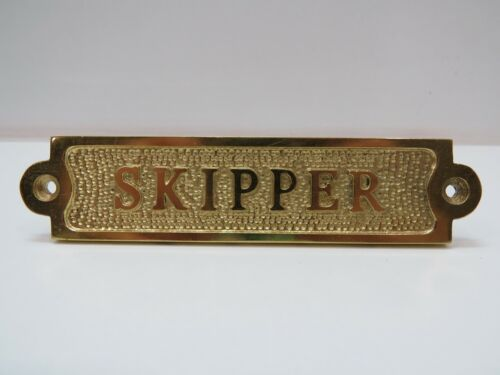 """1+1/4 x 5+1/2 Inch Aluminum Plated With Brass """"Skipper"""" Sign -(B5C291)"""