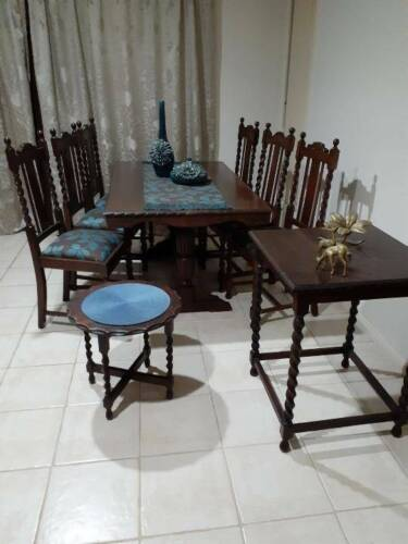 Antique nine piece Old English Oak Jacobean setting