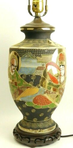 Antique Satsuma Moriage Japanese Pottery Brown & Gold Lamp w/Wooden Base