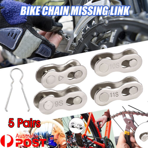 5 Pairs 6/7/8/9/10/11 Speed Bike Chain Master Link Connector QR + Simple Tool AU