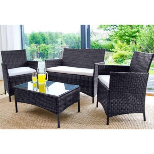 RATTAN GARDEN FURNITURE SET 4 PIECE CHAIRS SOFA TABLE OUTDOOR PATIO SET <br/> CHEAPEST IN THE UK-PRICES SLASHED FOR LIMITED TIME ONLY