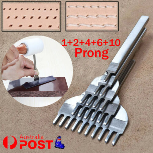 5pcs Set 1//2//4//6//10 Prong Chisel Pre Stitching Leather Craft Punch Tools 4mm DIY