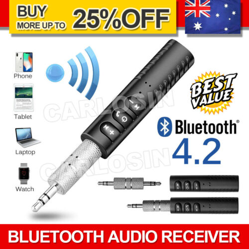 Wireless Bluetooth 3.5mm AUX Audio Music Receiver Stereo Home Car Adapter
