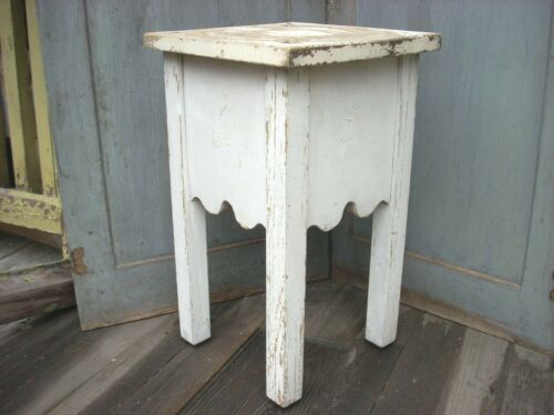 Vintage Antique Farmhouse Handmade Table Plant Stand Old White Paint