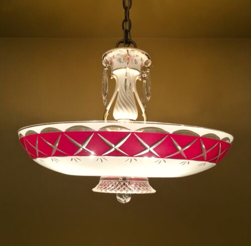Vintage Lighting breathtaking 1950 RED crystal chandelier by Porcelier