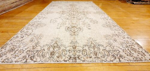 Rare Antique 1930-1939s Wool Pile Muted Dye Distressed Oushak Area Rug 7x10ft