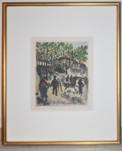 Listed French Artist Maurice Utrillo Original Lithograph Plate Signed