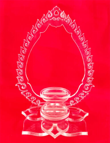 Thai Style Acrylic Clear Color Standing Base for Hanging Showing Buddha Amulet