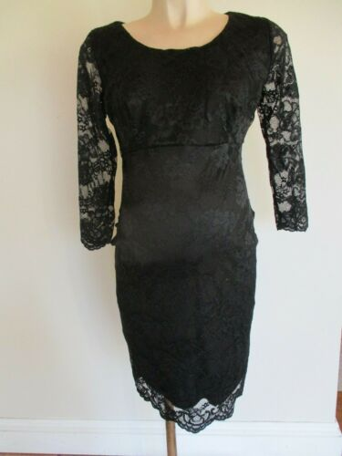 NEW LOOK MATERNITY BLACK LACE 3/4 SLEEVE EVENING PARTY FORMAL DRESS SIZE 10