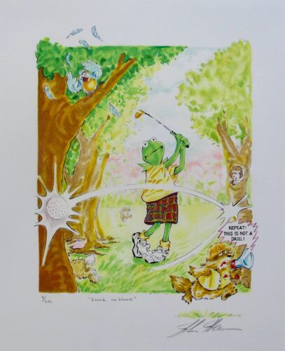 Jim Henson KNOCK ON WOOD Hand Signed L/E Lithograph MUPPETS KERMIT GOLF ART