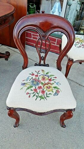 Victorian Antique Ornate Walnut needle point accent chair 4 available