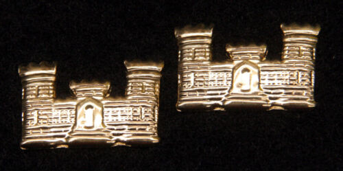 TWO US ARMY CORPS OF ENGINEERS BLACK METAL COLLAR HAT PIN AIR FORCE USA CASTLE