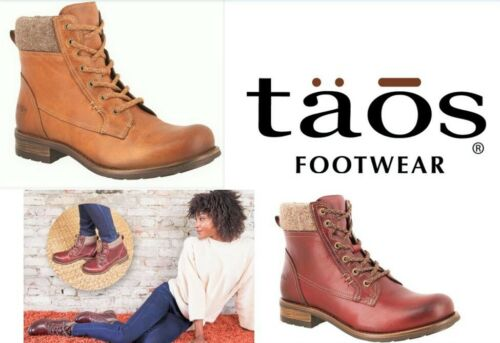 Taos Shoes Lace up Boots with zip leather low heel - Taos Footwear Cutie
