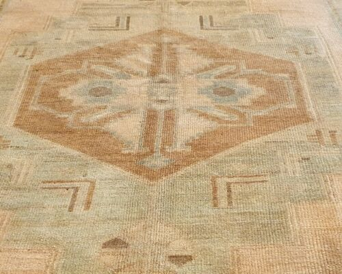 """Antique 1940's Muted Natural Dye Distressed Wool Pile Oushak Area Rug 5'7""""×9'3"""""""