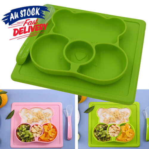 Plate Mat Silicone Suction Table Toddler Placemat Baby Food Tray Divided Bowl