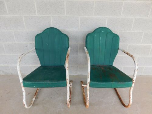 Vintage Steel Spring Base Arm Chairs - a Pair