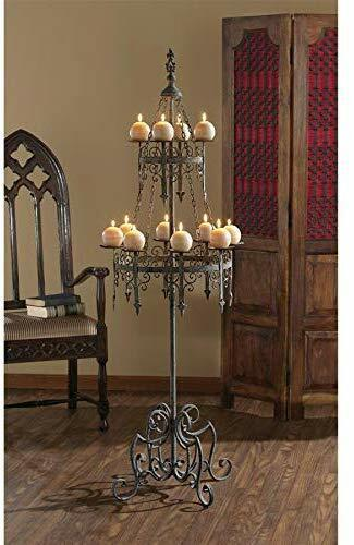 "Medieval LARGE FLOOR CANDLE HOLDER 63"" Candelabra Gothic Castle Antique Decor"