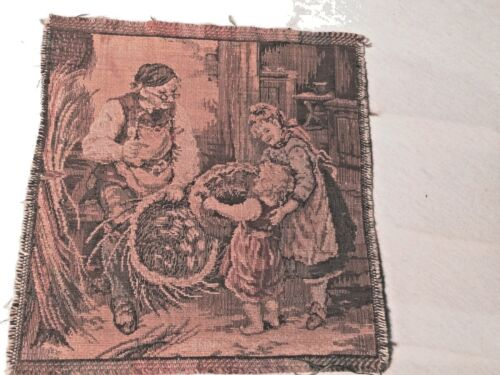 Vintage Tapestry Basket Weaver with Children 6 x 6 Square Frayed Edge