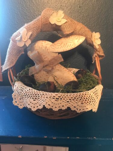 Primitive Spring/ Easter Wood Basket W/Metal Bunny Grungy Eggs And Green Moss