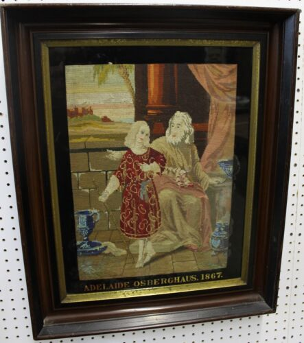 Antique Religious German Embroidered Vibrant Needlepoint Tapestry C 1867
