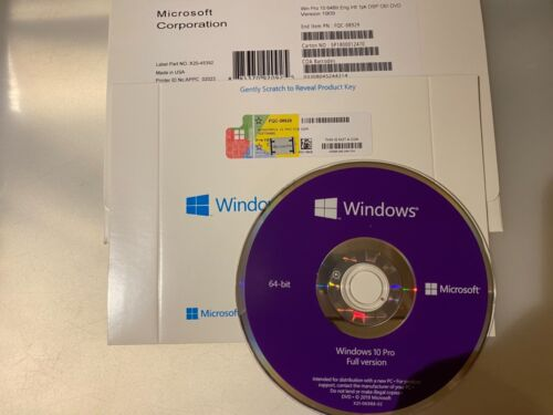 [Genuine ] Windows10 Pro 64 Bit OEM Full Version+Product Key On DVD With COA