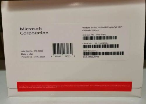 Windows Server 2016 Standard 64 Bit DVD + RDS 50 USER/DEVICE CAL's