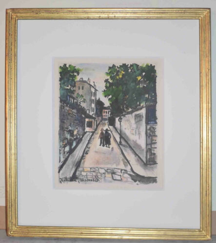 Listed French Artist Maurice Utrillo Original Colors Lithograph Plate Signed