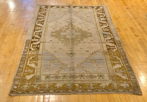 "Bohemian Antique 1900-1939's Muted Natural Dye Distressed Oushak Rug 9'4""x4'6""ft"