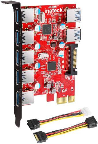 Inateck Superspeed 7 Ports PCI-E to USB 3.0 Expansion Card - 5 USB 3.0 Ports and