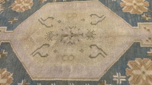 Exquisite Antique 1940's Muted Natural Dye Wool Bohemian Oushak Rug 5'x8'6''