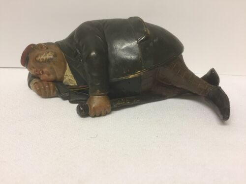 Clay Cast Figure of Old Gentleman Snoozing/Sleeping Off His Drink? BB7720~ BW152