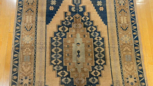 Rare Antique Muted Colors Wool Pile Bohemian Oushak Area Rug 4'5''X8'5''