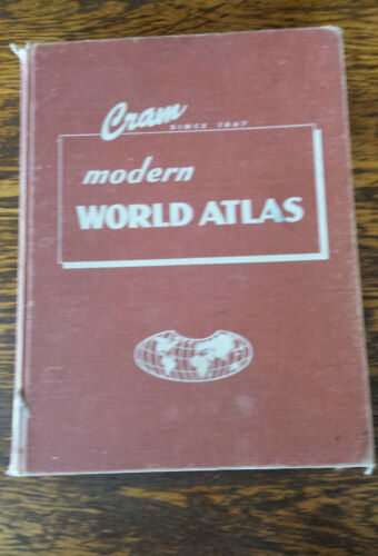 1962  CRAM'S Modern World Atlas of the World BEAUTIFUL COLORED AND DETAILED MAPS