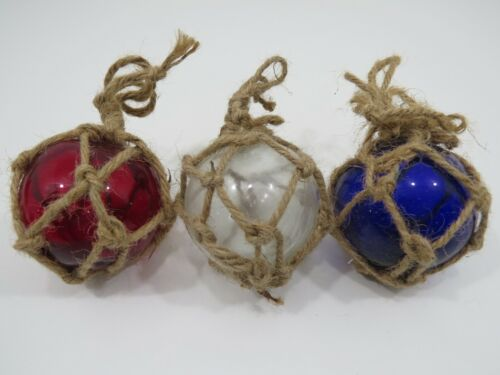 RED WHITE BLUE 3 INCH COLORED CURIO GLASS FLOATS BALLS BUOYS BOUYS FISHING NET
