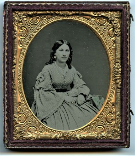 Young Victorian Woman, Fashion Dress Jewellery, Vintage Original Ambrotype Photo