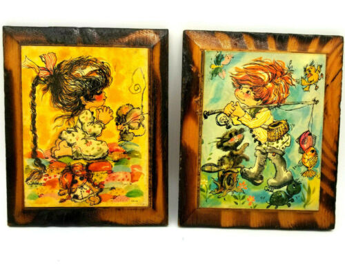 Vtg Wall Plaques Set of 2 Children Colorful Impressionist Paintings by Cindi
