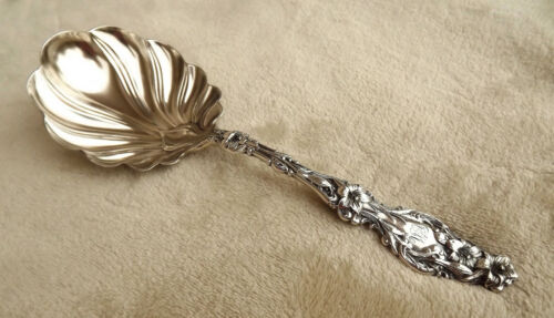 "Lily by Whiting 9"" Sterling serving spoon monogram HM Pat. 1902"