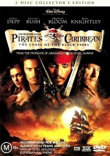 Pirates of the Caribbean: The Curse of the Black Pearl DVD 2003 Free Post