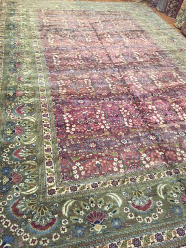 Antique Hand woven Luxury Indian Agra Rug Size  12'x18' Circa 1930's  All over
