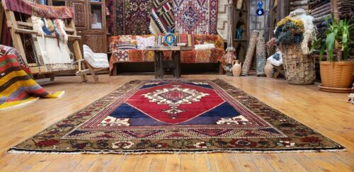 """Beautiful Antique 1930-1945's Wool Pile Natural Color Tribal Area Rug 4'4""""×9'4"""""""