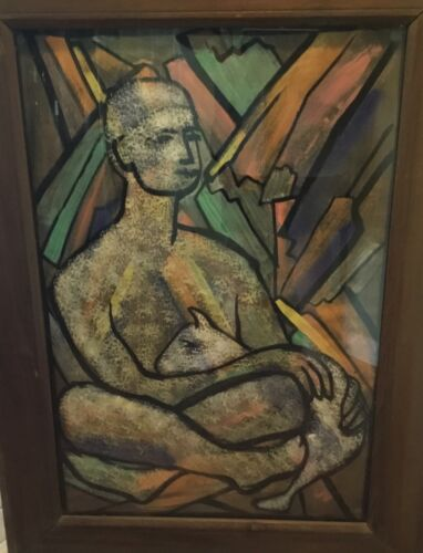 Vintage Cubist Large Portrait Watercolor Painting Attributed Irene Rice Pereira