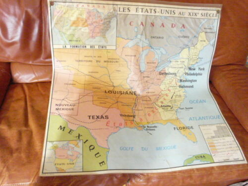 French Vintage School Poster Map USA North America Canada