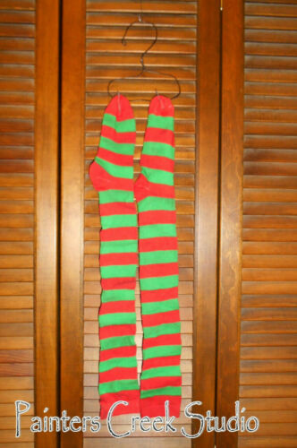 Grungy Primitive Socks Stockings - Red & Green Stripe, Santa, Christmas, Elf