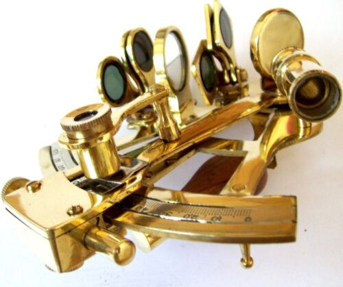 4'' Brass Sextant Nautical Working Instrument Astrolabe Ships Maritime Gift