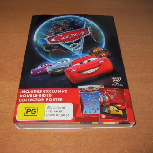 """CARS 2 ( Disney Pixar DVD Region 4 ) Includes """" Double-sided Collector Poster """""""