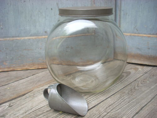 Antique Glass Jar Canister w/ Tin Lid & Scoop