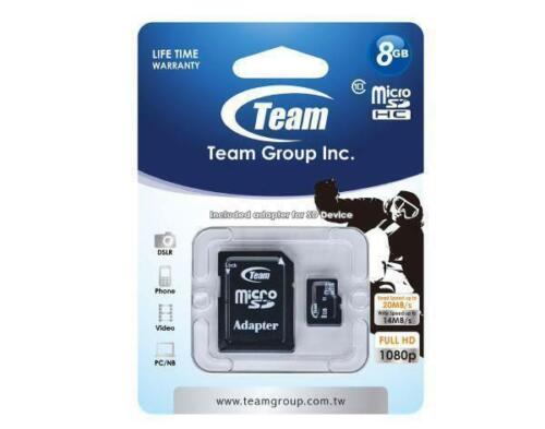 Memory Card microSDHC 8GB, Class 10, with SD Adapter